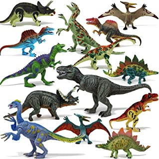 """Joyin Toy 18Piece 6"""" To 9"""" Educational Realistic Dinosaur Figures with Movable Jaws Including T-Rex, Triceratops, Velocira..."""