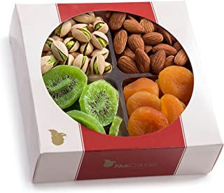 Nut Cravings Medium Dried Fruit and Nut Gift Platter - Father's Day Gift Baskets w/4 Different Dried Prime Fruits & Nuts - Sympathy, Condolence, Birthday, Healthy Gift Box For Any Occasion