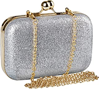 Womens Mini Evening Bag,Beautyshow PU Glitter Shiny Bling Shoulder Bag Cross Body Messenger Bag Kiss Lock Dinner Handbag With Chain Strap - Silver