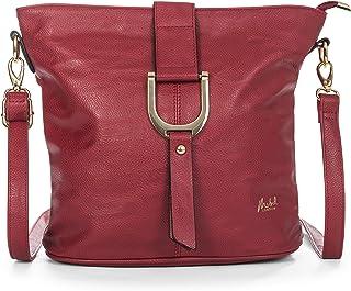 Big Handbag Shop - Sac à main style seau pour femme porté épaule/bandoulière - Rouge