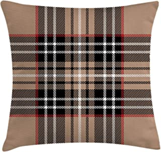 Ambesonne Checkered Throw Pillow Cushion Cover, Classical Tartan in British Style Design Geometric Ornament Striped, Decorative Square Accent Pillow Case, 24