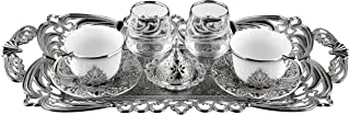 Turkish Coffee Cups for 2 People with Water Glass, Tray and Candy Bowl, Coffee Server (White Silver)