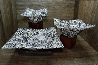 Microwave Bowl Cozies, Set of 3, 1 Small Bowl Cozy, 1 Medium Bowl Cozy and 1 Dinner Plate Cozy, Golden Blooms