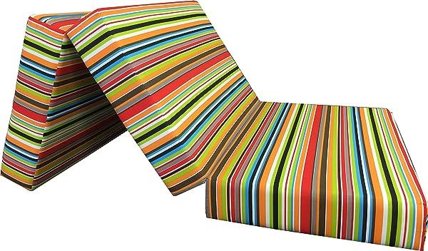 D D Futon Furniture Multi Color Stripes Queen Size Shikibuton Trifold Foam Bed Density 1 8 Lbs Floor Foam Folding Mattresses 6x60x80