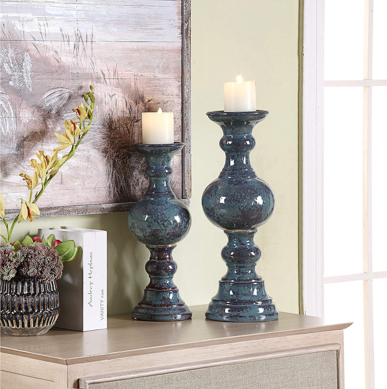 MISC Candleholder - Set Time sale Great interest of Blue Ceramic Transitional 2