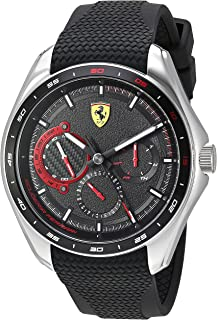 Ferrari Men's SPEEDRACER Stainless Steel Quartz Watch with Silicone Strap, Black, 22 (Model: 0830683)