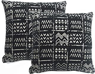 "Chardin home: Cleopatra - Decorative Cotton Throw Pillow Cover (Set of 2), Size 18""x18"", Black/Ivory"