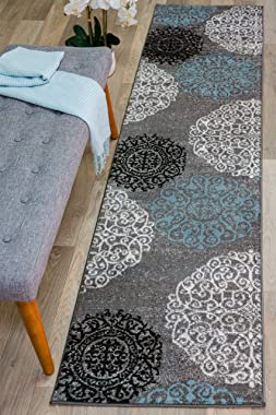 Rugshop Contemporary Modern Floral Indoor Soft Runner Rug 2' x 10' Gray
