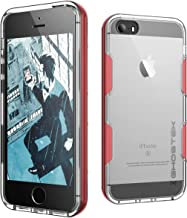 Ghostek iPhone SE Case, Cloak Series for Apple iPhone SE 5S 5 Slim Protective Armor Case Cover | Tempered Glass Screen Protector | Aluminum Frame | TPU Shell Exchange (Red)