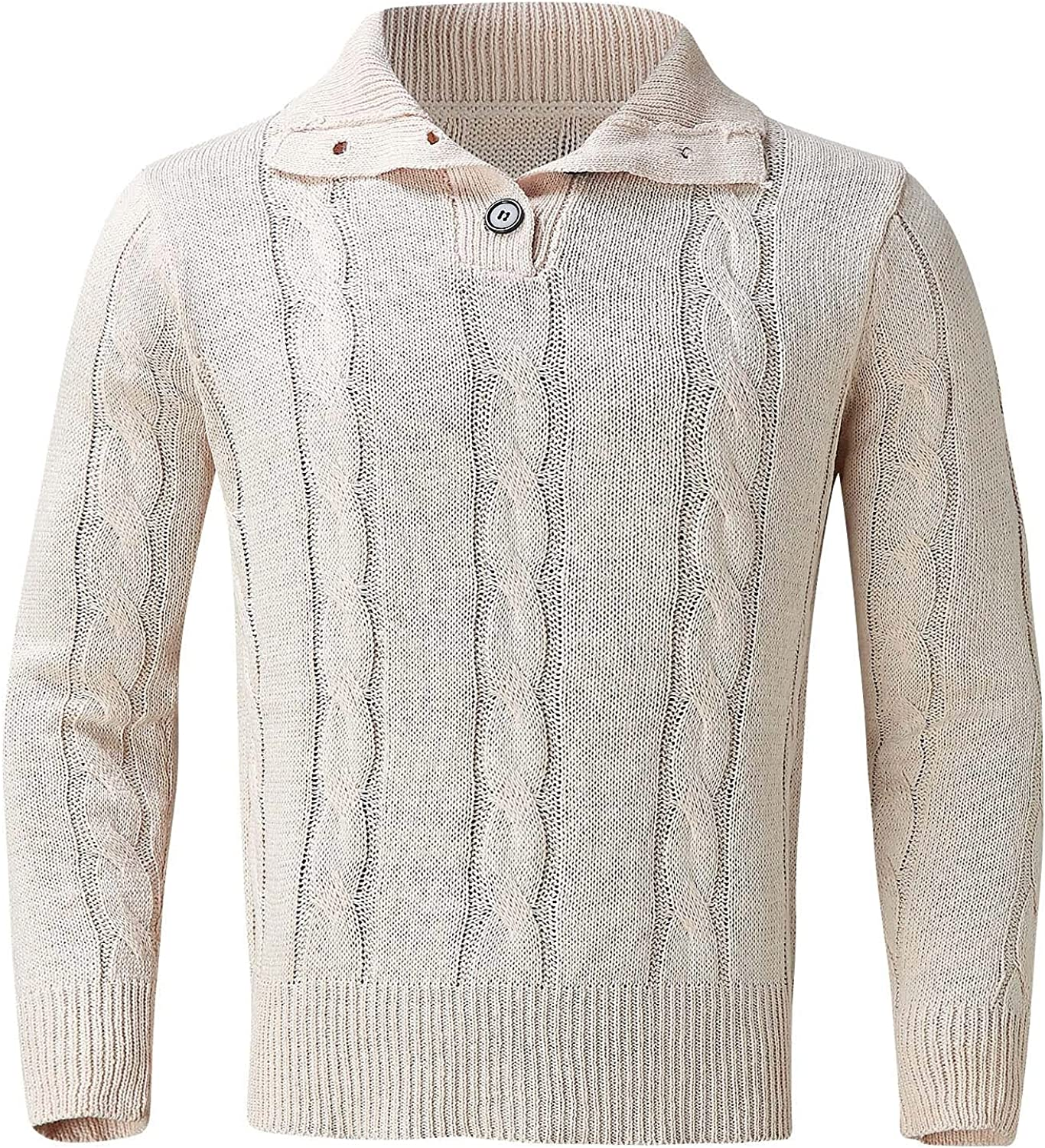 Huangse Men's Autumn Winter Cable Pullover Sweater Sold Color One Button Knitted Polo Pullover Ribbed Cuff Knitwear Tops