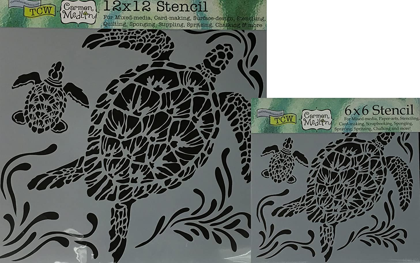 The Crafter's Workshop Set of 2 Stencils - Sea Turtles 12