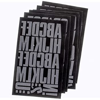 TRANSFERMATIONS IRON-ON FLOCKED LETTERS AND NUMBERS IN BLACK 9 SHEETS 56 PIECES