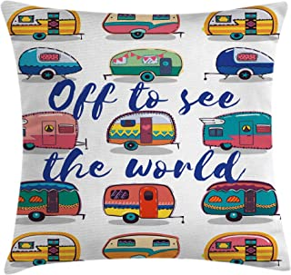 Ambesonne Camper Throw Pillow Cushion Cover by, Off to See the World Inspirational Quote on Mini Caravans Background Vintage Trip Image, Decorative Square Accent Pillow Case, 20 X 20 Inches, Multi