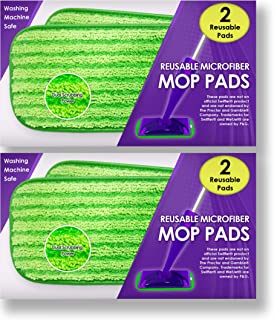 Reusable Mop Pads Fit Swiffer WetJet - Washable Microfiber Mop Pad Refills by Turbo - 12 Inch Floor Cleaning Pads Fit Both Dry Mops and Wet Jet Mop Heads - 4 Pack