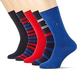 5-Pack De Regalo De Colección-Tin Stripes & Plain Hombres Calcetines, Azul Marino/rojo