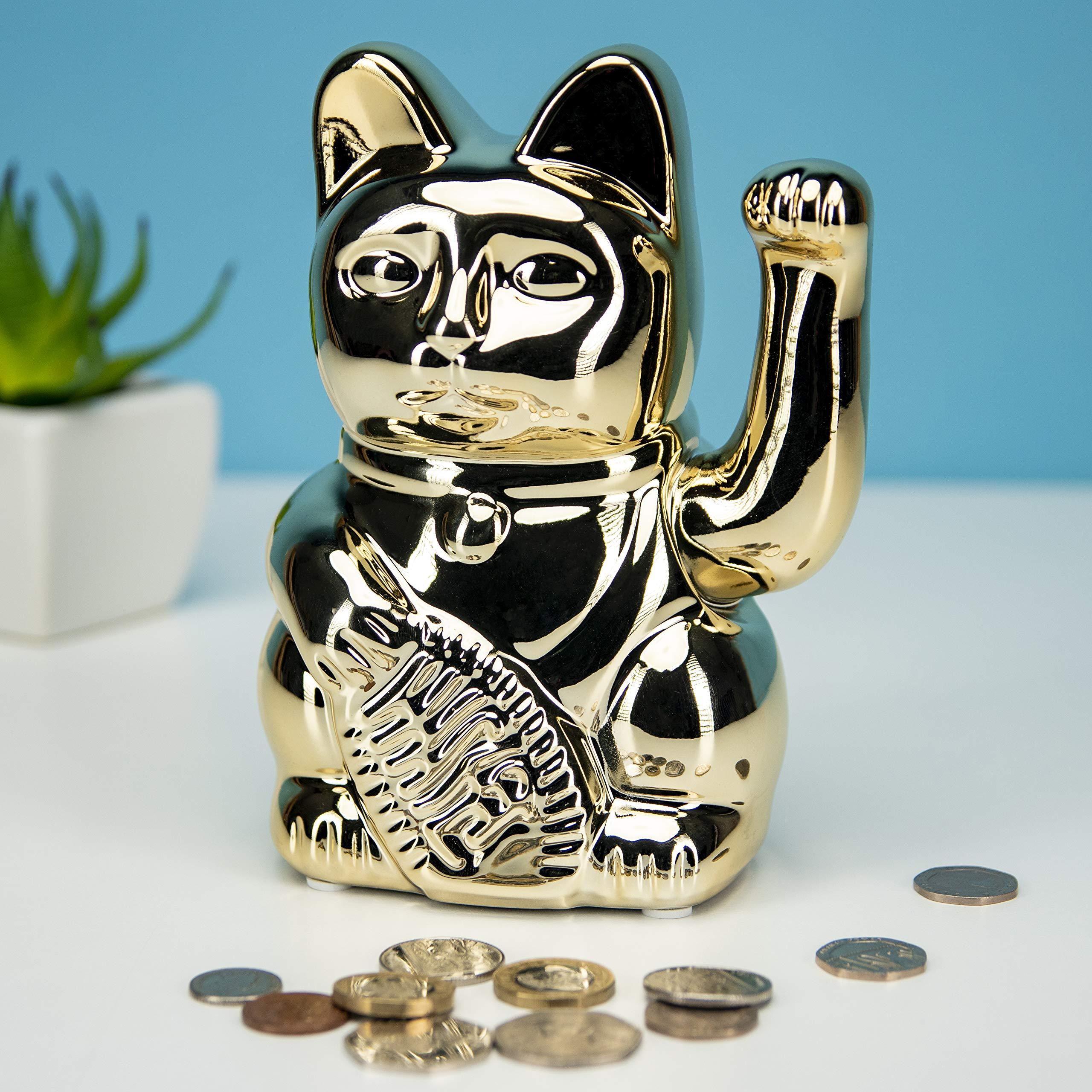 Caja de Dinero de Gato de la Suerte, Banco de Monedas de cerámica de la Buena Fortuna y agitando Maneki Neko Feng Shui: Amazon.es: Hogar