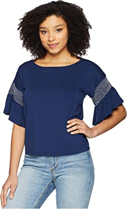 Drop Shoulder Smocked Ruffle Sleeve Top