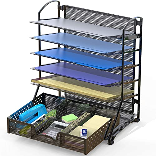 new arrival SimpleHouseware discount 6 online Trays Desk Document File Tray Organizer with Supplies Sliding Drawer, Black outlet online sale