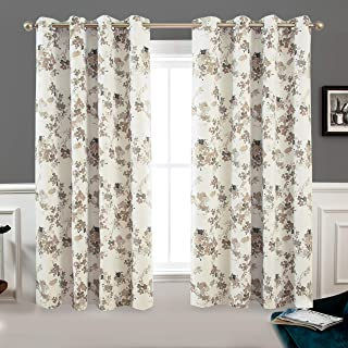 DriftAway Watercolor Abstract Floral Lined Thermal Insulated Blackout Window Curtain Grommet 2 Panels Each 52 Inch by 63 Inch Beige