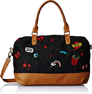 Women Weekender Overnighter Tote Bag -Boho Jacquard Canvas and Vegan PU Leather Duffle with Zip Closure