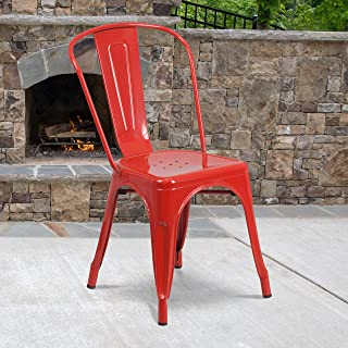 Flash Furniture Commercial Grade 4 Pack Red Metal Indoor-Outdoor Stackable Chair