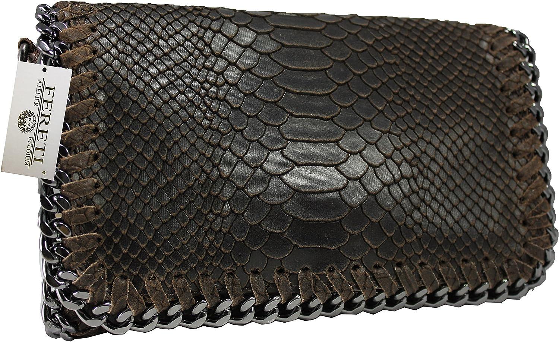 04104af200f99 FERETI Damen Leder Clutch Tasche 25 25 25 farben umhangetasche Abendtasche  Schultertasche mit Kette (Dark braun snake) B01M34X4SB Angenehmes Gefühl  2c0f5c