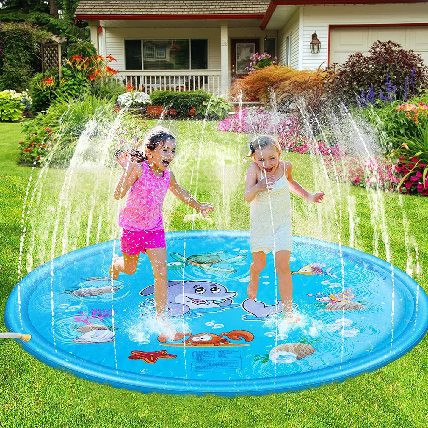 Splash Pad for Kids, 68'' Sprinkle and Splash Play Mat Children's Sprinkler Pool, Water Pad Toys Outdoor Party Sprinkler Toy for Babies and Toddlers