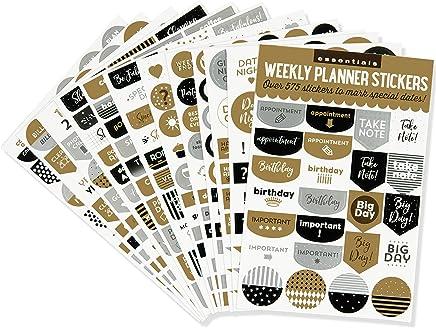 Essentials Weekly Planner Stickers, Black & Gold Set of 575 Stickers