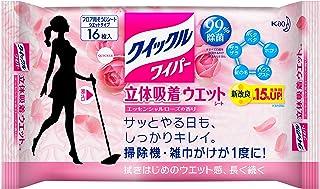 クイックルワイパー フロア用掃除道具 立体吸着ウエットシート ローズの香り 16枚