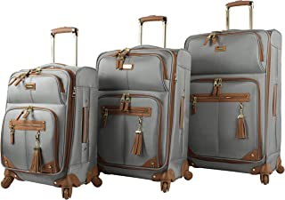 3 Piece Softside Spinner Suitcase Set Collection (One Size, Harlo Gray)