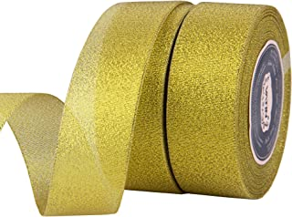 VATIN 2 Rolls Glitter Metallic Gold Ribbon 1-1/2 inches Wide Sparkly Fabric Gorgeous Ribbon for Gift Crafters Wedding Party Brithday Wrap Hair Bows Floral Projects (50-Yards Spool)