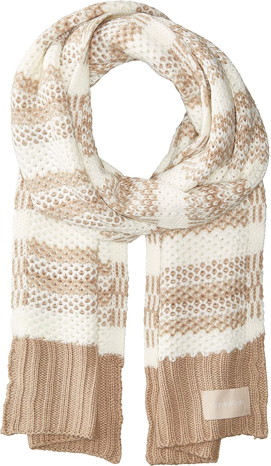 Calvin Klein womens Honeycomb Stripe Oakland Mall Same day shipping Scarf