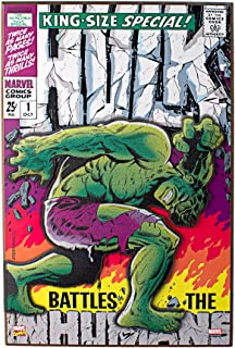 Silver Buffalo MV6371 Marvel Hulk Battles the Inhumans 3-D Wood Wall Art, 13 x 19 inches