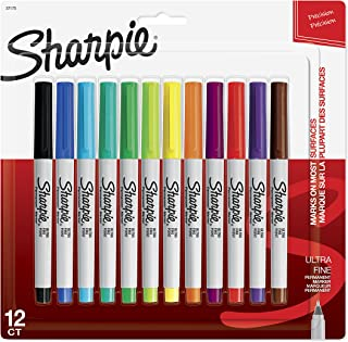 Sharpie 37175 Permanent Markers, Ultra Fine Point, Assorted colours, 12 Count