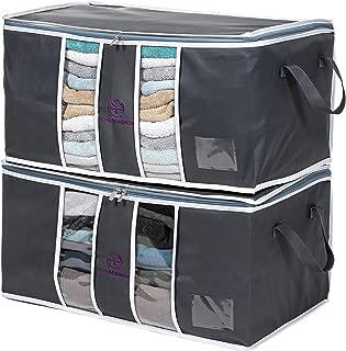 Home Maximize Foldable Storage Bags Organizer (2-Pc. Set) Clothing Organizer Storage Bags, Comforter Storage Bags, Closet, and Bedroom Bags | Clothes, Blanket Organizers