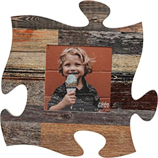 P. Graham Dunn Neutral Multicolor Distressed Wood Look 12 x 12 Wall Hanging Wood Puzzle Piece Photo Frame