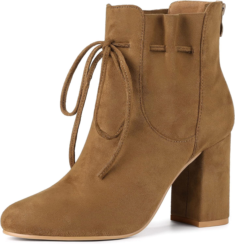 Allegra K Women's Round Toe Drawstring Block Heel Ankle Boots