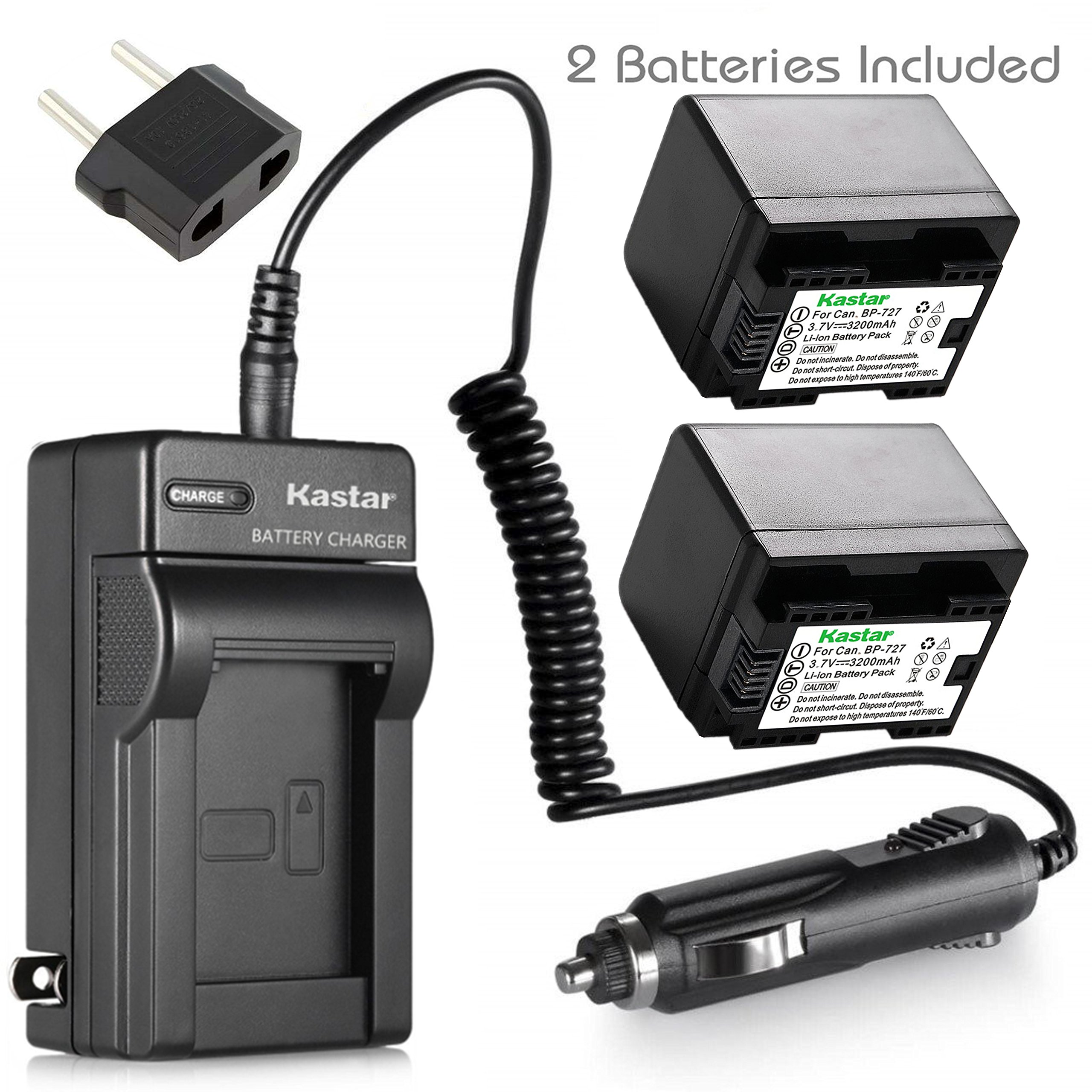 Kastar (FULLY DECODED) Battery (2-Pack) + Charger for Canon BP-727 and VIXIA HF M50, HF M52, HF M500, HF R30, HF R32, HF R40, HF R42, HF R50, HF R52, HF R60, HF R62, HF R300, HF R400, HF R500, HF R600