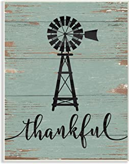 Stupell Industries Thankful Vintage Windmill Oversized Wall Plaque Art, Proudly Made in USA