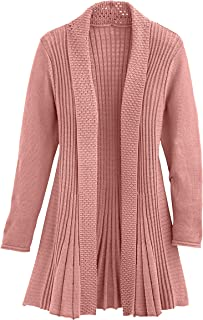 Cardigans for Women Long Sleeve Midweight Swingy Knit Cardigan Sweater W/Pocket