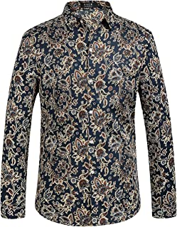 Men's Floral Cotton Long Sleeve Casual Button Down Shirts