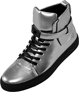 The Original Mens High Top Designer Lace-Up Sneaker, Metallic Pebble Grain Upper with Black Slide Buckle and Strap