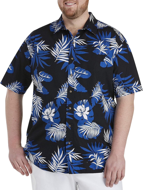 Oak Hill by DXL Big and Tall Leaf Sport Shirt, Black/Blue/White