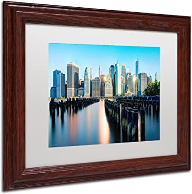 Brooklyn Bridge Park and Financial District-II Framed Art by David Ayash, 11 by 14-Inch, White Matte with Wood Frame