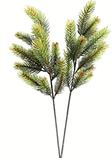 Jasming 2 pcs Artificial Pine Branches Fake Leaves Cones Bouquets for Christmas Embellishing Holiday Decorating (Style B)