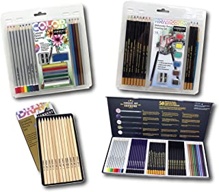 Sargent Art 22-0047 Drawing is Fun Kit 4 Piece Art Activity Set, Colored, Graphite Pencils, Sharpeners