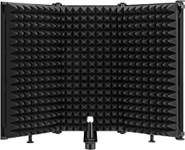 """Moukey Microphone Isolation Shield, Foldable With 3/8"""" and 5/8"""" Mic Threaded Mount, Mic Sound Absorbing Foam for Filter Vo..."""