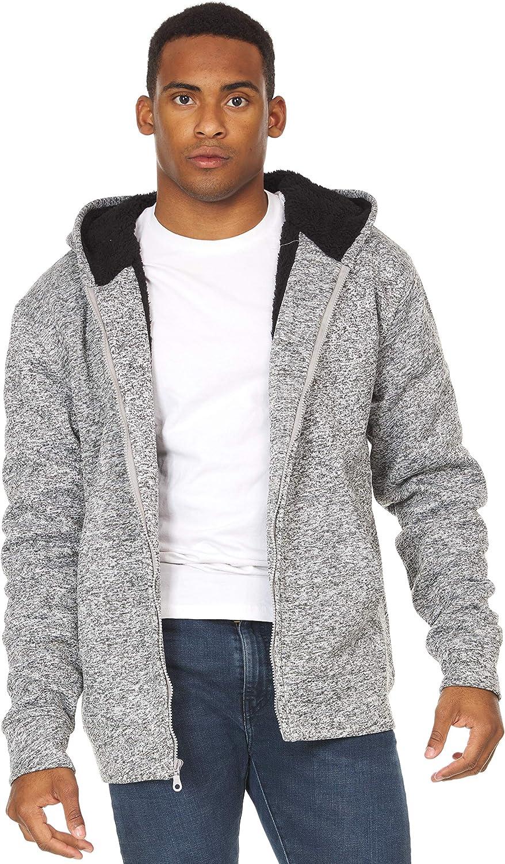 Men's Fuzzy Warm Soft Sherpa Lined Sweatshirt Fleece Hooded Full-Zip Jacket