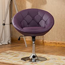 Roundhill Furniture Noas Contemporary Round Tufted Back Tilt Swivel Accent Chair, Single, Purple