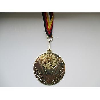 Weitsprung inkl mit einem Emblem Kinder Leichtathletik Hochsprung Logo - Farbe: Gold usw Medaillen Band e247 100 St/ück Medaillen Laufen - wei/ß//rot aus Stahl 50mm Speerwurf